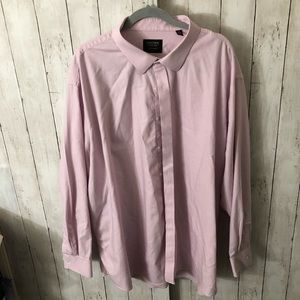 Pink and white long sleeve button down size 19in